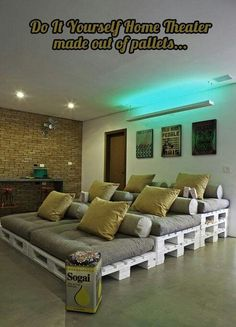 What a  simple, creative idea for a do-it-yourself home theater room.