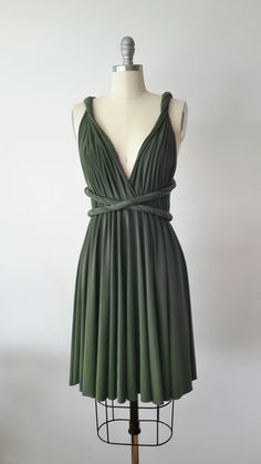 Forest Green Infinity Dress Convertible Formal by AtomAttire
