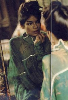 Bianca Jagger in Zandra Rhodes Dress, in the Sunday Times Magazine, 1972