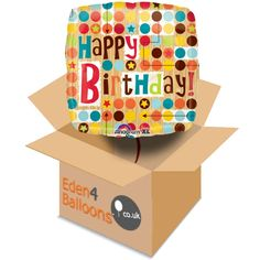 Birthday Balloon in a Box FREE Standard Delivery A brilliant birthday Balloon in a Box. Ideal for sending and a delight to receive. Our balloon in a box gifts are made to order and come with a gift card and your personal message. Designs may vary. Birthday Balloons, Happy Birthday, Delivery, Messages, Box, Cards, Gifts, Free, Design