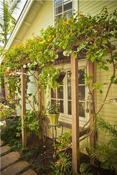 cute lil mini pergola...  looks like they   used a ladder...  and I'm digging the placement over the window..  so   cottage-y