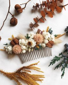 A sweet dried flower hair comb in shades of ivory, blush, rust, tan, and yellow with hints of greenery. Measures approximately 4 long. Made with real preserved and dried flowers to last months or years. Wedding Hair Flowers, Flowers In Hair, Wedding Bouquets, Rustic Wedding Hair, Fall Wedding Shoes, Exotic Flowers, Purple Flowers, How To Dry Flowers, Elegant Wedding
