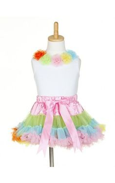 Sleeveless Top With Matching Rainbow Color Pettiskirt Chiffon Girl Dress