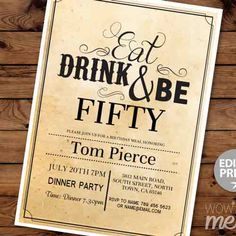 The Best Birthday Invitations—by a Professional Party Planner 50th Birthday Party Ideas For Men, 50th Birthday Party Invitations, Photo Invitations, Printable Invitations, 50 Birthday, Balloon Invitation, Birthday Dinners, Milestone Birthdays, Save The Date Cards