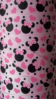 7/8 grosgrain ribbonMinnie Mouse pink heart3 yards by heartcakes, $3.50