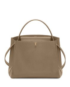 VALEXTRA Triennale Large Leather Top-Handle Bag, Beige. #valextra #bags #shoulder bags #hand bags #suede #lining #
