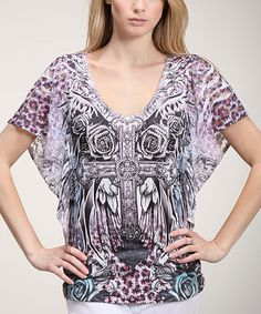 Another great find on #zulily! Pink & Gray Crucifix Cape-Sleeve Tee #zulilyfinds