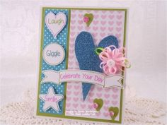 Created using Be Happy and Hello Friend stamp sets, the Be Happy Sweet Cuts die set and Cotton Candy Sequins - www.papersweeties.com!  Designed by Debbie Marcinkiewicz.
