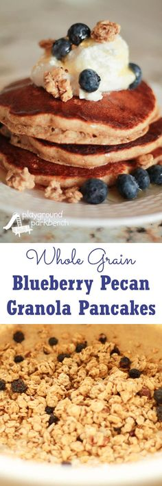 Whole Grain Blueberry Pecan Granola Pancakes featuring Quaker®️ Real Medleys SuperGrains Granola create a protein, fiber and flavor-filled breakfast to get your day off to a healthy, hearty start! The whole family with love the texture and taste of this