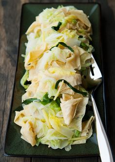 braised napa cabbage with tofu sheets recipe | use real butter