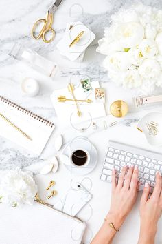Styled Vertical Stock Image | Blogger's Marble, White and Gold Desktop with…