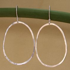Oval Hoops Sterling Silver Earrings. via Etsy.