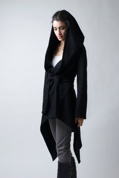 Black Coat with a Hood / Asymmetrical Hoody Cardigan/ Spring Coat / Oversize Designer Coat / Asymmetric Coat / - Model 75