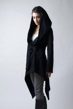 Black Coat with a Hood / Asymmetrical Hoody Cardigan/ Spring Coat / Oversize Designer Coat / Asymmetric Coat / - Model 75 on Etsy, $123.00