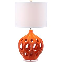 An intriguing sculptural design with open cutouts, the bold orange Regina ceramic table lamp by Safavieh is a fresh take on the traditional gourd lamp.