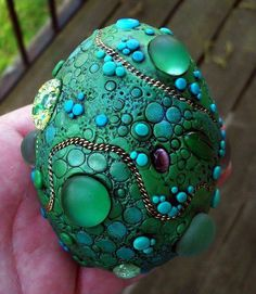 Dragon Egg! Polymer clay over a duck egg with assorted found objects by estsy artist MandarinMoon on sale $52.00 - This could be fun to do as a library program... you could switch out the duck egg for foam maybe would last better with younger children