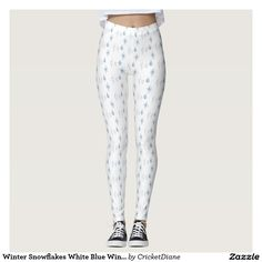 Winter Snowflakes White Blue Wintertime Style Leggings