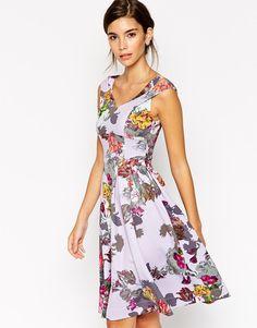 Image 1 ofASOS Lilac Floral Split Strap Debutante Dress