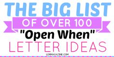 101 Open When Letter Topics...oooh most of these are good!! New handwritten letter every time you really need a pep talk | list of 101 letter ideas