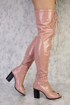 271923315ae Pink Front Lace Up Detailing Thigh High Open Toe Single Sole Chunky High  Heel Boots Patent