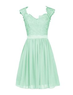 Wedtrend Women's Short Chiffon Dress Bridesmaid Dress with Applique WT10161 Mint 22W