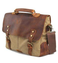 6aaf48a20a68 Men s Women Vintage Canvas Leather Shoulder Messenger Bag handbag  briefcases 201