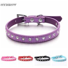 SYDZSW Rhinestone Leather Pet Dog Cat Collar Luxury Crystal Diamond Cat Necklace Small Dogs Chihuahua Products Cat Supplies