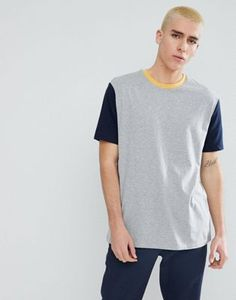 f57bab88173 Relaxed Fit T-Shirt With Contrast Sleeves And Neck Trim