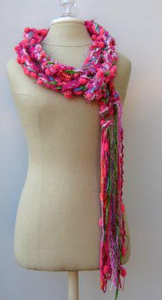 Pink BonBon crochet braid Gypsy Fringe long by PurpleSageDesignz, $ 20.00