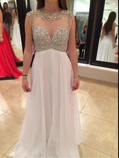 Charming Backless Beaded Prom Dress,Elegant Evening Dress,Long Party