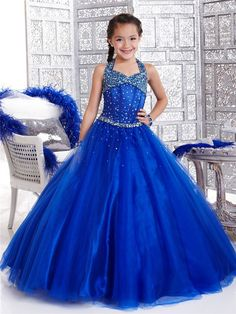 2017 Blue Organza Girls Pageant Dresses Prom Dress Children With Halter Girl Of 10 To 12 Years Girls Long Formal Dresses Custom