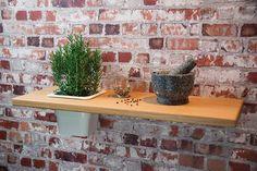 Pflanzregal Nr3 Eiche Massivholz 75 cm Wandregal Regal Blumenregal mit Einsatz aus Porzellan #heimgruen