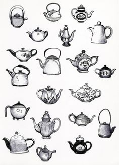 Teacup black and white pencil illustration