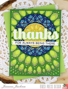 A Kept Life: Birch Press Design Peacock Inspired Grace Panels #card #mandala #papercrafting #layereddie #thanks #sugarscript #word #die #diycard