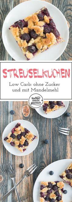 Tolles Rezept für einen kohlenhydratarmen Blechkuchen. Der glutenfreie Streuselkuchen wird mit Mandelmehl gebacken und mit Xylit gesüßt. Durch Schmand und Früchte wird der Streuselkuchen schön saftig.