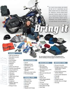 HD Recommends Things to Pack on a Long Motorcycle Trip News Welcome to Shop Your Perfect Traveling Apparel - T-shirt V-neck Long Sleeve Hoodie Motorcycle Tips, Motorcycle Camping, Camping Gear, Motorcycle Touring, Motorcycle Quotes, Ural Motorcycle, Sturgis Motorcycle Rally, Biker Quotes, Women Motorcycle