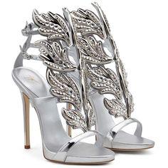 Giuseppe Zanotti Crystal Embellished Metallic Coline Wing Sandal (114,575 INR) ❤ liked on Polyvore featuring shoes, sandals, winged sandals, metallic sandals, wing shoes, metallic shoes and crystal embellished sandals
