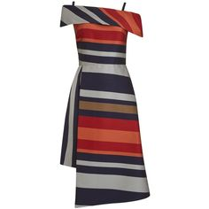 Finery Sackville Stripe Dress (3,930 INR) ❤ liked on Polyvore featuring dresses, flared skirt, long-sleeve mini dresses, red maxi dress, off shoulder midi dress and short-sleeve maxi dresses