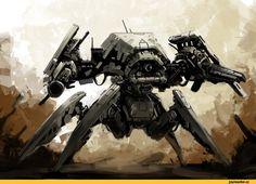 боевой мех giant spider,Sci-Fi,art,арт,красивые картинки,Zhangx