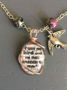 Jane Eyre quote necklace 'I am no bird' Jane Eyre Quotes, My Etsy Shop, Bird, Personalized Items, Unique Jewelry, Handmade Gifts, Shopping, Vintage, Kid Craft Gifts
