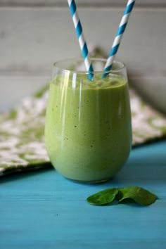 Tropical Green Monster Debloating Smoothie - A creamy, thick, healthy, naturally sweet smoothie made with tropical fruit and greek yogurt, that will help flatten your belly.