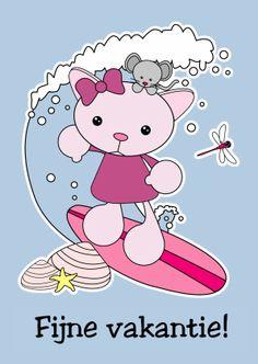 Fijne vakantie - Surfen - Vakantiekaarten - Kaartje2go - strand - zee - veel plezier - geniet - vakantie - kat - muis - libelle - golf - schelpen - zeester- Esther van Gijn