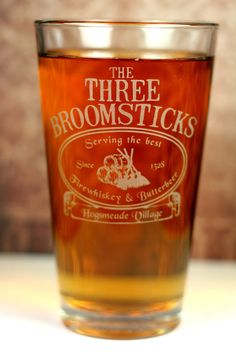 The Three Broomsticks Harry Potter Inspired Sandblasted Pint Glass. ~ I NEED this!