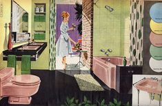 1958 Wards bath fixtures illustration. #vintage #1950s #pink #bathroom