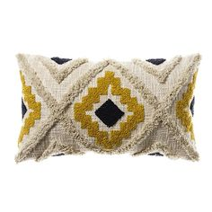 Mexica Cushion Mustard & Navy - Home Republic Find premium statement & comfort cushions in high fashion finishes such as velvet, sheepskin, linen & faux fur, perfect for indoors or out at Adairs Online. Mustard Living Rooms, Mustard Bedroom, Mustard Bedding, Yellow Throw Pillows, Yellow Cushions, Aztec Bedroom, Mustard Cushions, Home Republic, Boho Cushions