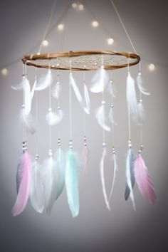 Pastel Dreamcatcher Mobile - Dream catcher Mobile Boho Bohemian Baby Mobile Tribal Crib Nursery Baby Girl Baby boy