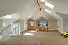 attic playroom- note the drywall angles and the paint job... i also like the skylights