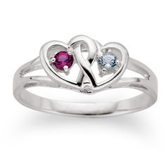 {$79} Interlocked Hearts Couples Birthstone Ring