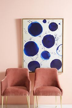 Velvet Chairs | Rose Velvet Chairs | Rose and Gold Chairs | Artfully Walls Blue Dots Wall Art