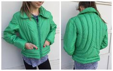 70's HEAD Ski Parka Winter Jacket USA  Green Crop